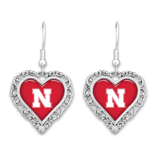 Nebraska Cornhuskers Lace Trim Earrings