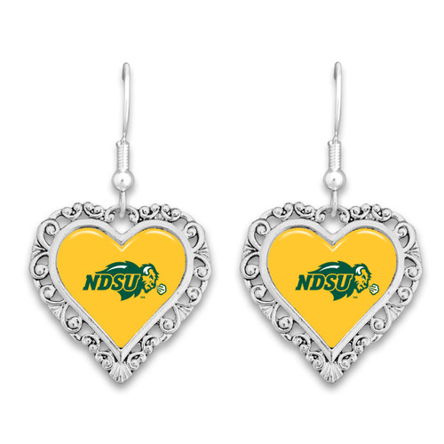 North Dakota State Bison Lace Trim Earrings