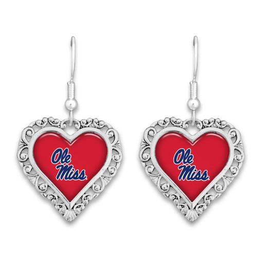 Ole Miss Rebels Lace Trim Earrings