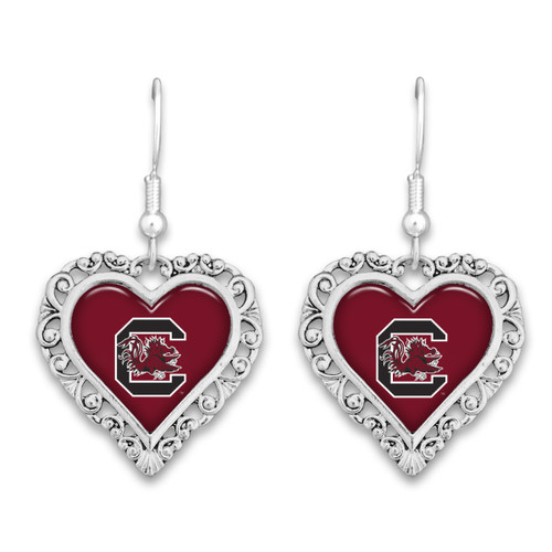 South Carolina Gamecocks Lace Trim Earrings