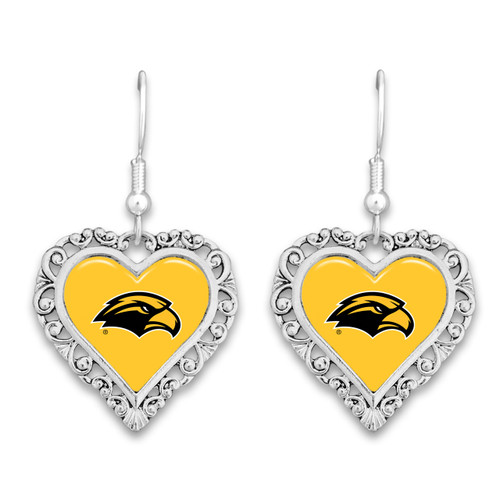 Southern Mississippi Golden Eagles Lace Trim Earrings