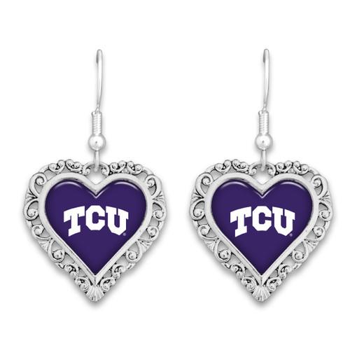 TCU Horned Frogs Lace Trim Earrings