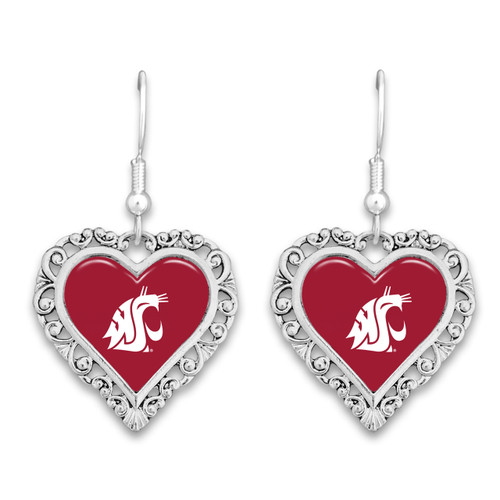 Washington State Cougars Lace Trim Earrings