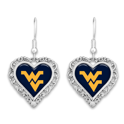 West Virginia Mountaineers Lace Trim Earrings