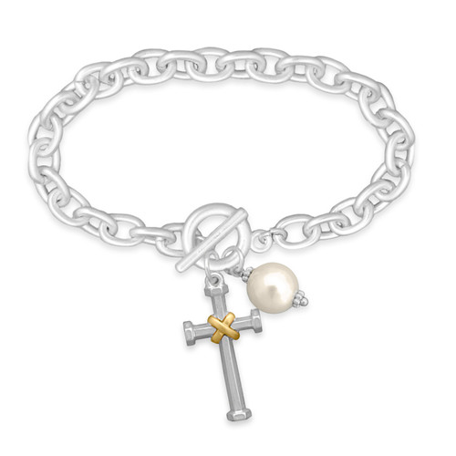 Tied Cross Matte Toggle Bracelet SKU 55616