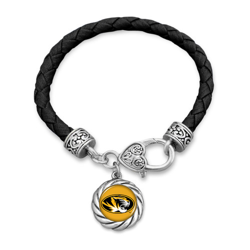 Missouri Tigers Bracelet- Harvey Leather Twisted Rope