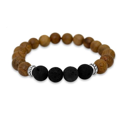 Essential Elements Bracelet / Dark Wood Stretchy W/ 4 Lava Stones- SKU 61314