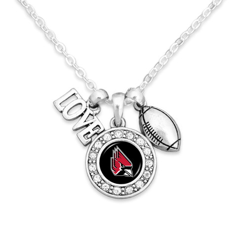 Ball State Cardinals Necklace- Football, Love and Logo