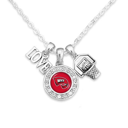 Western Kentucky Hilltoppers Necklace- Basketball, Love and Logo