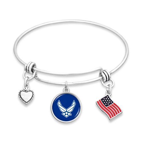 Military Bracelet - Triple Charm - Air Force - Flag Accent Charm