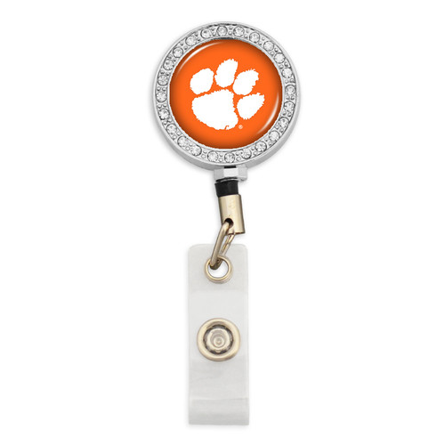 Clemson Tigers Belt Clip Badge Reel- Crystal