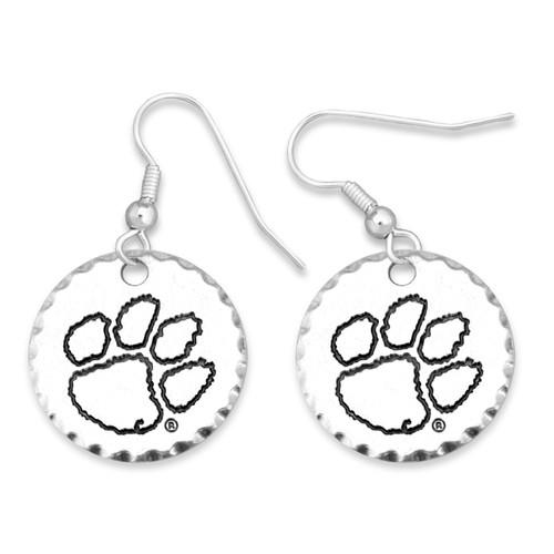 Clemson Tigers Stamped Disk Earrings