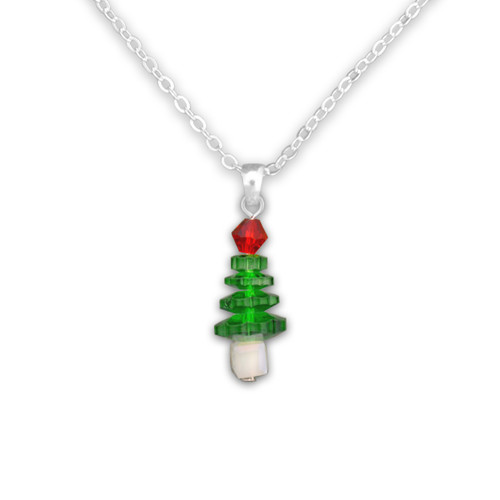 Christmas Tree Beaded Necklace