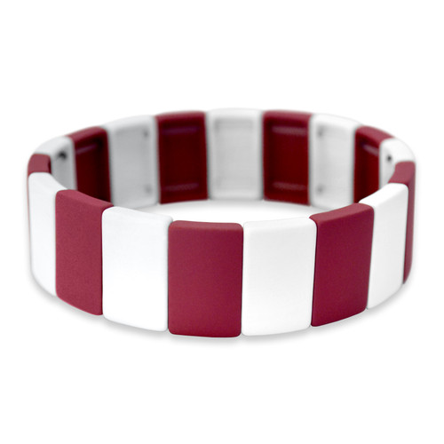Spirit Stretch Bracelet- Crimson & White