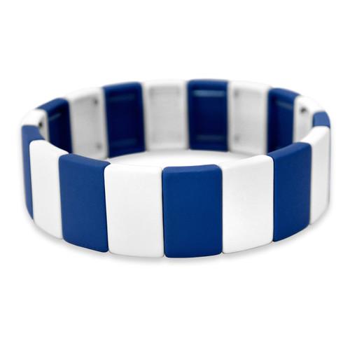 Spirit Stretch Bracelet- Royal Blue & White