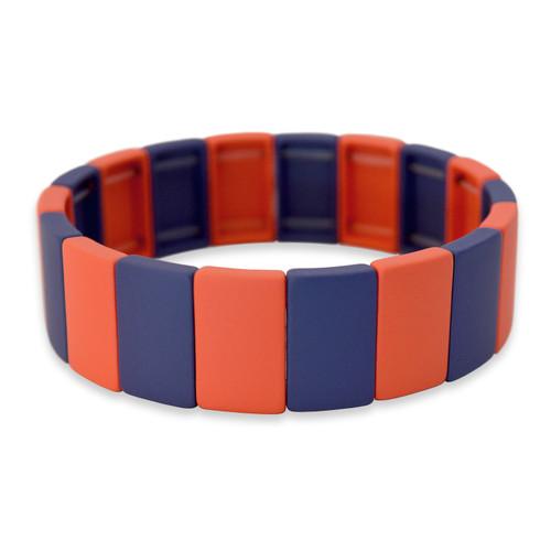 Spirit Stretch Bracelet- Orange & Navy Blue