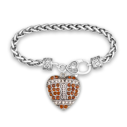 Crystal Heart Shaped Football Bracelet- Braided Clasp