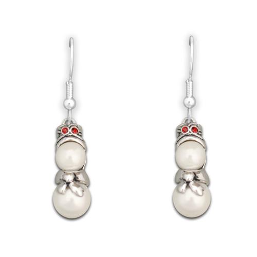 Beaded Snowman Earrings