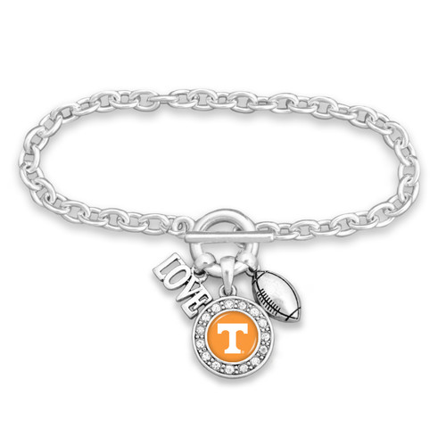 Any College- Football, Love, and Logo Charm Bracelet