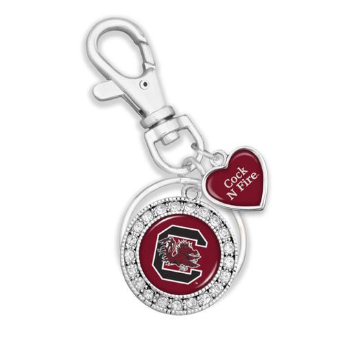 Key Chain- Round Logo with Spirit Slogan Heart Accent Key Chain