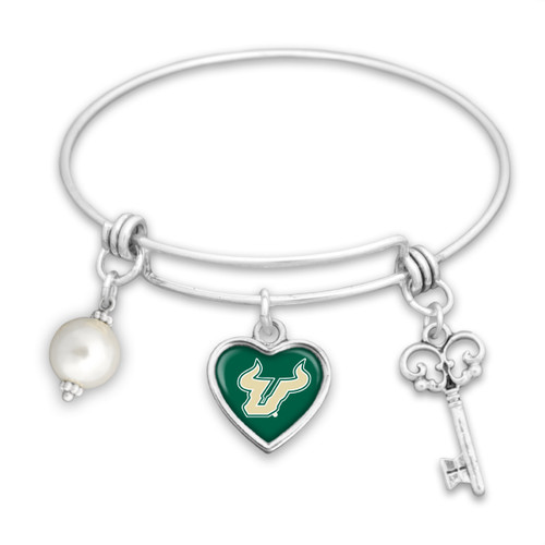 *Choose Your College* Bracelet- Pearl, Logo, and Key Memory Wire
