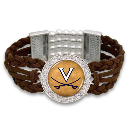 *Choose Your College* Bracelet- Brown Braided Suede