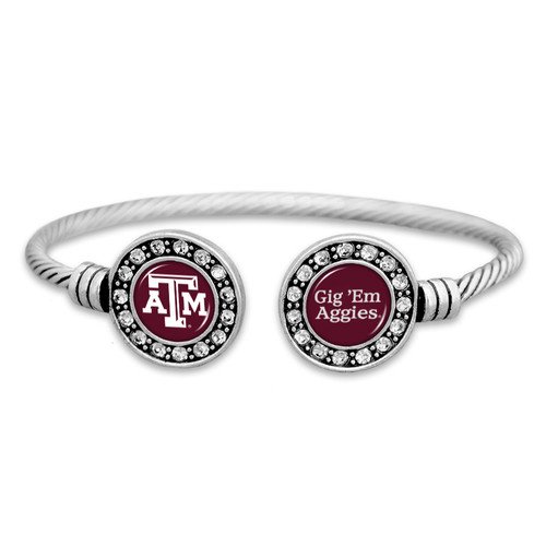 Double Circle with Spirit Slogan College Cuff Bracelet