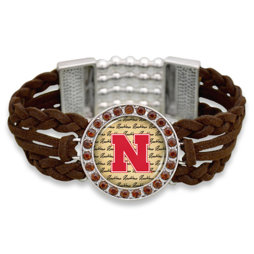 *Choose Your College* Bracelet- Brown Braided Suede/ Script Background