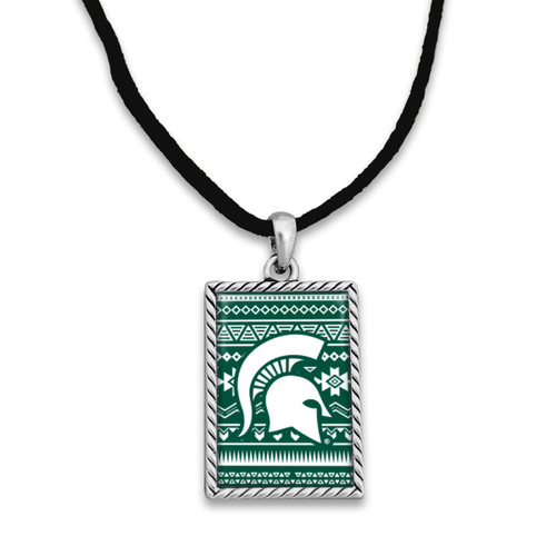 Rectangle College Necklace with Logo Geometric Background