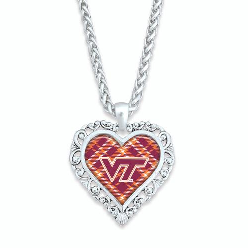 Plaid Lace Trim Heart College Necklace