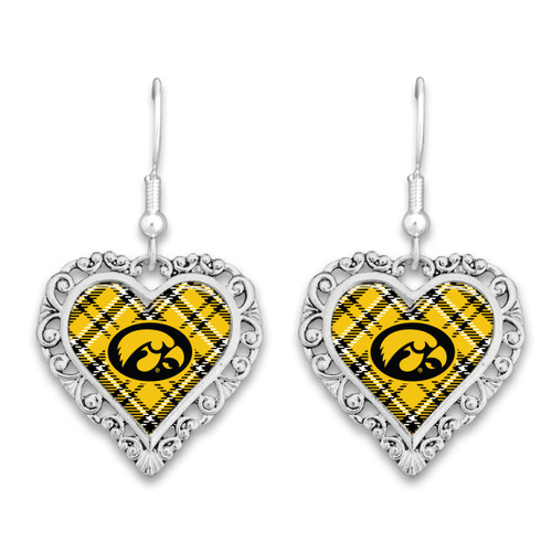 Plaid Lace Trim Heart College Earrings