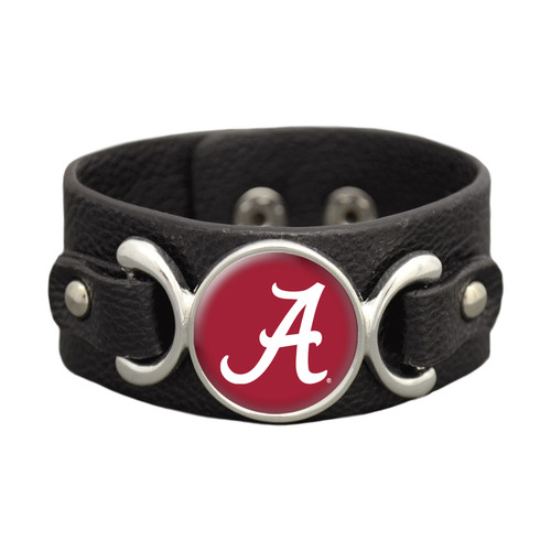 *Choose Your College* Bracelet- Black Leather Strap Moto