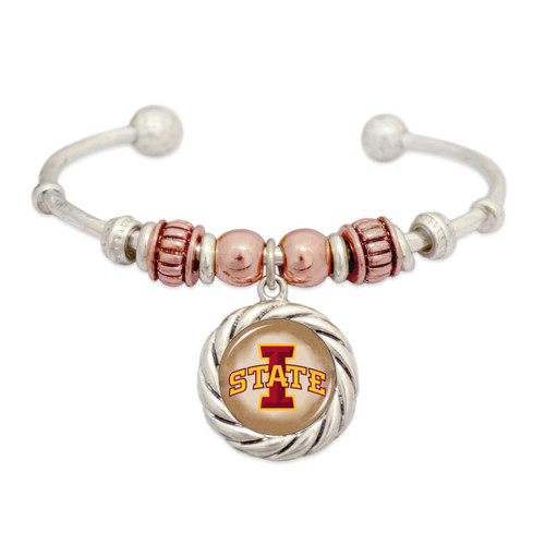 Bobbie Beaded Rose Gold Dome Cuff College Bracelet