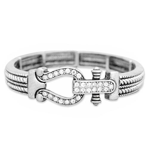 Arm Candy Stretch Bangle Bracelet- Lucky Horse Shoe