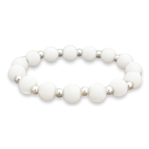 Zoey Silicone Stretch Bracelet-  White
