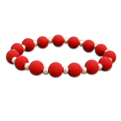 Zoey Silicone Stretch Bracelet-  Bright Red