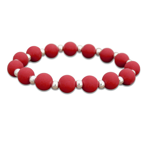 Zoey Silicone Stretch Bracelet-  Deep Red