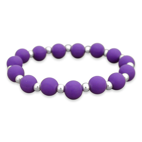 Zoey Purple Silicone Beaded Stretch Bracelet
