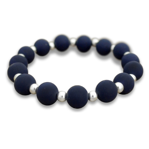 Zoey Silicone Stretch Bracelet-  Navy