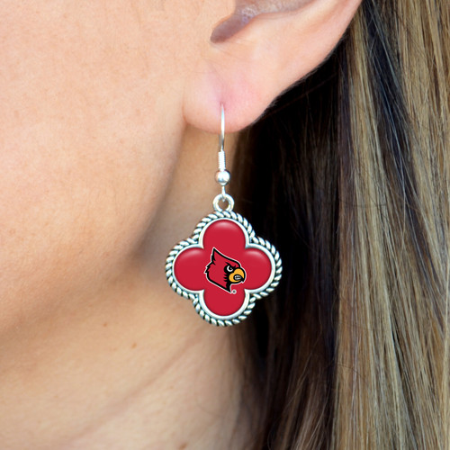 High School Earrings- Quatrefoil Charm