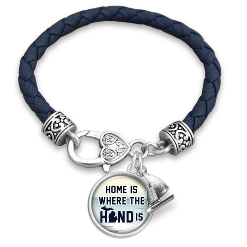 Home Is Where The Hand Is Michigan Leather Bracelet 59975