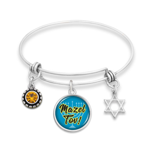 Mazel Tov Wire Bangle Bracelet