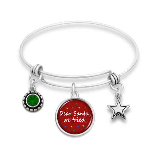 Believe Christmas Collection- Dear Santa, We Tried Wire Bangle Bracelet