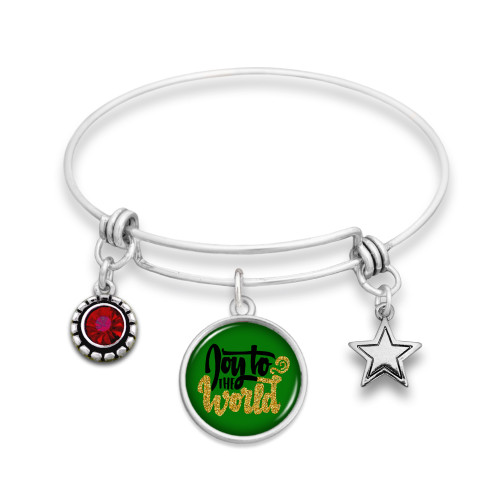 Believe Christmas Collection- Joy To The World Wire Bangle Bracelet