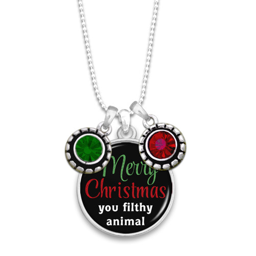 Believe Christmas Collection- Merry Christmas You Filthy Animal Necklace