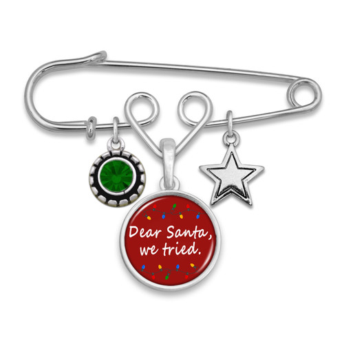 Believe Christmas Collection- Dear Santa, We Tried Brooch Pin