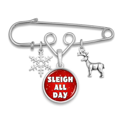Believe Christmas Collection- Sleigh All Day Brooch Pin