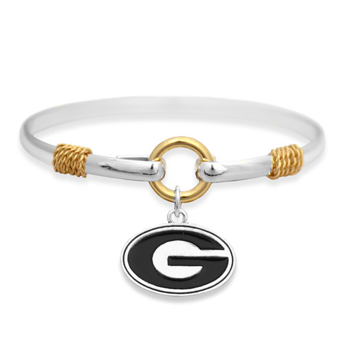 Georgia Bulldogs Two Tone Rope Bangle Bracelet