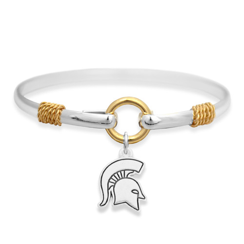 Michigan State Spartans Two Tone Rope Bangle Bracelet