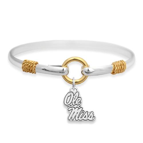Ole Miss Rebels Two Tone Rope Bangle Bracelet
